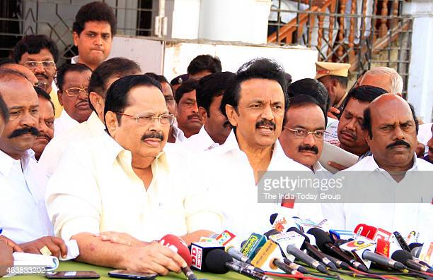 DMK leader MK stalin breifing the media after the party MLA's staged a walk out from the Tamil Nadu assembly session