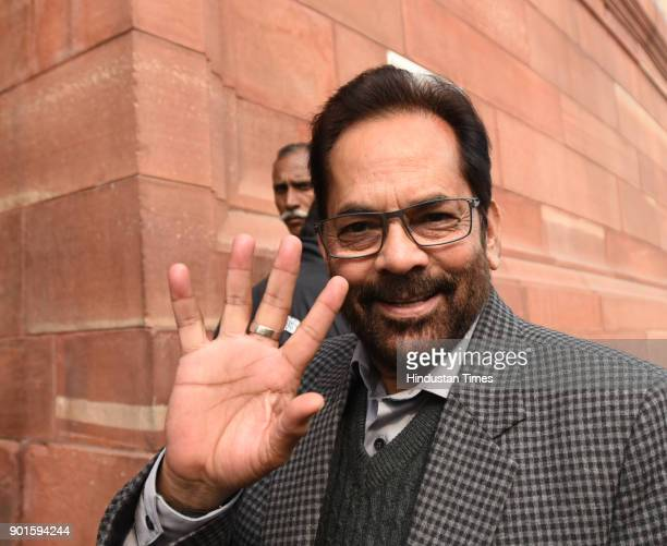 BJP leader Mukhtar Abbas Naqvi during the last day of the parliament winter session at Parliament House on January 5 2018 in New Delhi India The last...