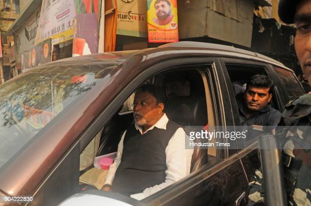 BJP leader Mukul Roy leaving from BJP party office after tension between BJP and Trinamool supporters at North Kolkata area on January 12 2018 in...