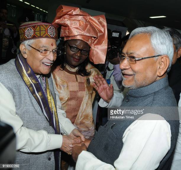 BJP leader Murli Manohar Joshi with Hon'ble Emilia Lifaka Chairperson CPA and Chief Minister Nitish Kumar during the 6th India region Commonwealth...