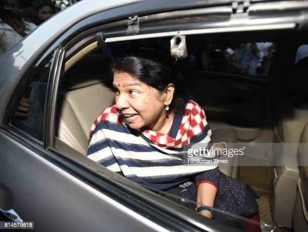 DMK leader Muthuvel Karunanidhi Kanimozhi after attending the all party meeting at Union Home Minister Rajnath Singh's residence on July 14 2017 in...