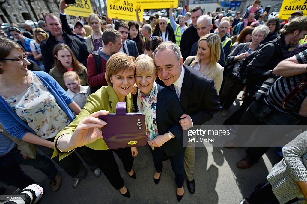 Leader Nicola Sturgeon and Alex Salmond campaign in the Gordon constituency on April 18, 2015 in Inverurie, Scotland. The First Minister joined Alex Salmond to highlight the fact that only the SNP represent all parts of Scotland.