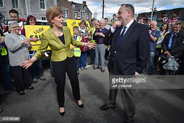 Leader Nicola Sturgeon and Alex Salmond, campaign in the Gordon constituency on April 18, 2015 in Inverurie, Scotland. The First Minister joined Alex...