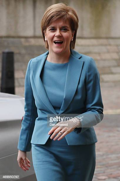 SNP leader Nicola Sturgeon arrives at Methodist Central Hall ahead of tonights Live TV debate on April 16 2015 in London England Labour leader Ed...