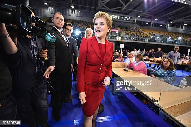 SNP leader Nicola Sturgeon arrives at the count for the Scottish Parliament elections at the Emirates Arena on May 6 2016 in GlasgowScotland The...