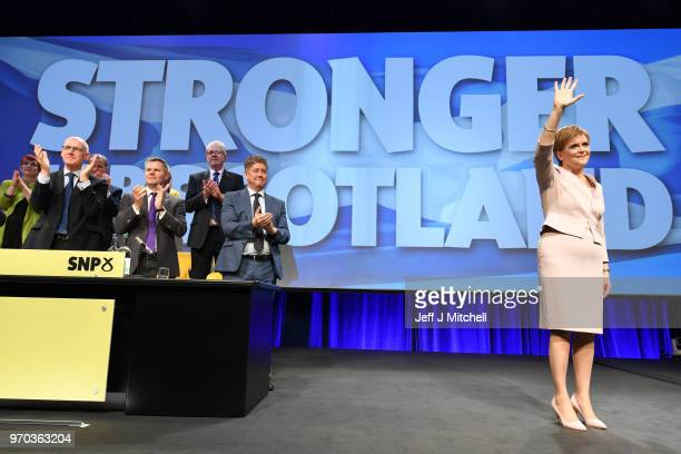 SNP leader Nicola Sturgeon delivers her keynote speech to delegates at the party spring conference on June 9 2018 in Aberdeen Scotland The SNP leader...