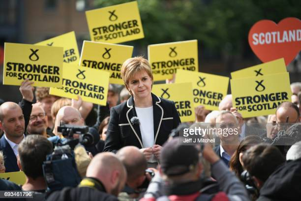 Leader Nicola Sturgeon holds a final campaign rally in Leith on July 7 2017 in Edinburgh Scotland Ms Sturgeon urged people to unite behind the SNP...