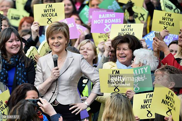 Leader Nicola Sturgeon joins female activists in Buchanan Street SNP along with actor and campaigner Elaine C Smith to launch the SNP's women's...