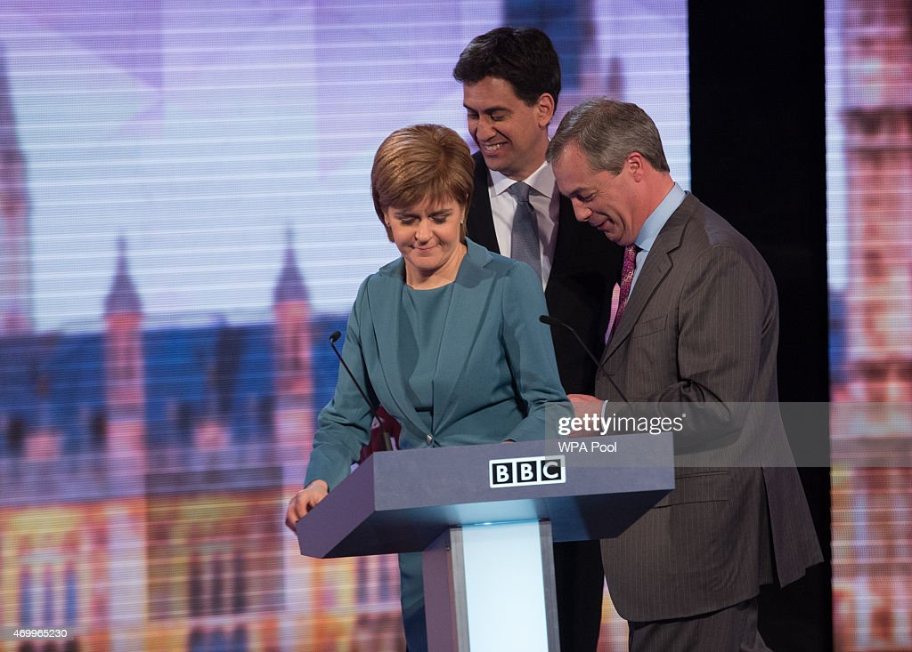 SNP leader Nicola Sturgeon, Labour leader Ed Miliband and UKIP leader Nigel Farage take part in the Live BBC Election Debate 2015 at Central Hall Westminster on April 16, 2015 in London, England. The leaders of five political parties are taking part in the election debate, without Prime Minister David Cameron and Deputy Prime Minister Nick Clegg. Britain goes to the polls in the General Election on May 7.