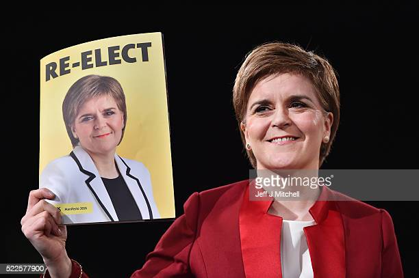 SNP leader Nicola Sturgeon launches her manifesto for the Holyrood election at the Edinburgh International Conference Centre on April 20 2016 in...