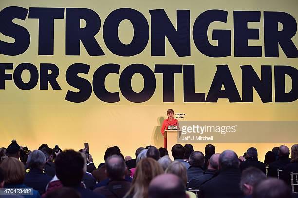 Leader Nicola Sturgeon launches the Scottish National Party manifesto at the Edinburgh International Climbing Arena, EICA Ratho, on April 20, 2015 in...