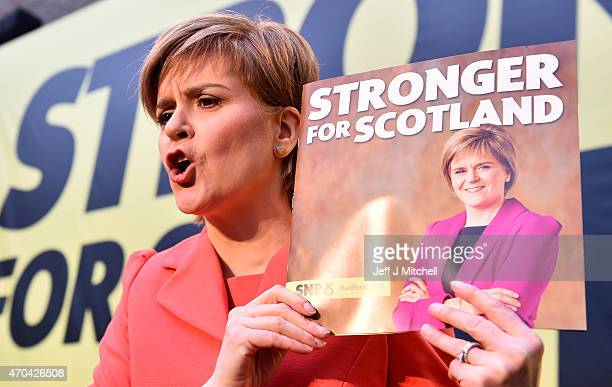 SNP leader Nicola Sturgeon launches the Scottish National Party manifesto at the Edinburgh International Climbing Arena EICA Ratho on April 20 2015...