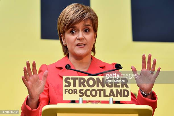 SNP leader Nicola Sturgeon launches the Scottish National Party manifesto at the Edinburgh International Climbing Arena EICA Ratho on April 20 2015...