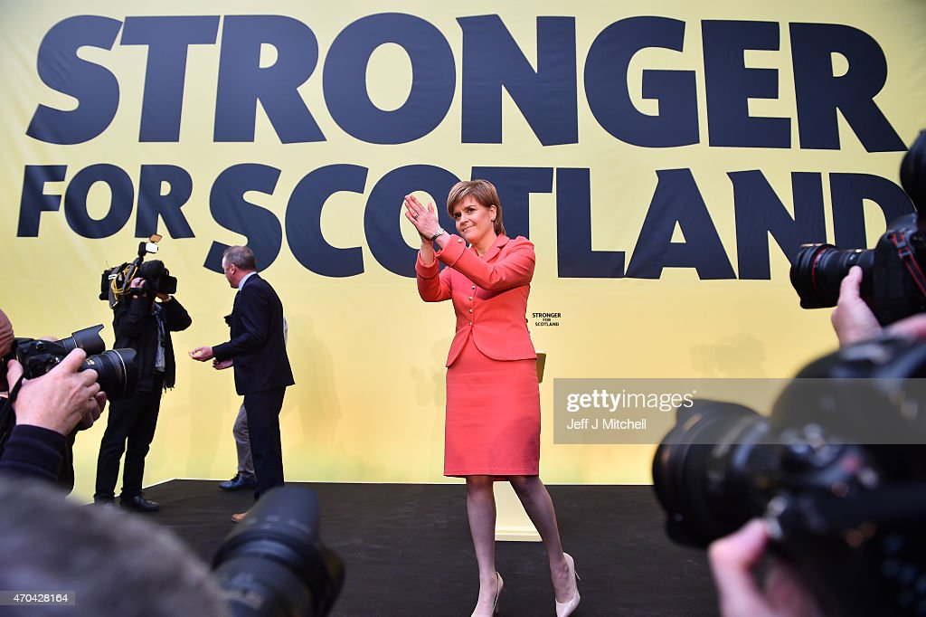 SNP leader Nicola Sturgeon launches the Scottish National Party manifesto at the Edinburgh International Climbing Arena, EICA Ratho, on April 20, 2015 in Edinburgh, Scotland. Although Labour have rejected a coalition with the SNP, Sturgeon is expected to unveil policies that could lead to a power-sharing deal.