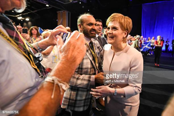 SNP leader Nicola Sturgeon meets deligates after delivering her keynote speech to delegates at the party spring conference on June 9 2018 in Aberdeen...