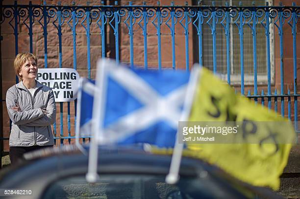 Leader Nicola Sturgeon returns to her constituency to meet voters at polling stations on May 5 2016 in GlasgowScotland Today dubbed 'Super Thursday'...
