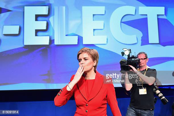 SNP leader Nicola Sturgeon takes applause following delivering her keynote speech to the Scottish National Party Spring conference on March 12 2016...
