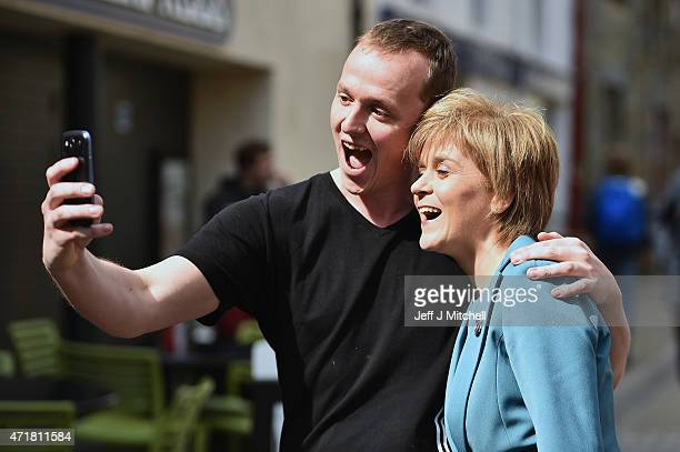 SNP leader Nicola Sturgeons helicopter tour of Scotland continues as she visits St Andrews with candidate for North East Fife Constituency Stephen...