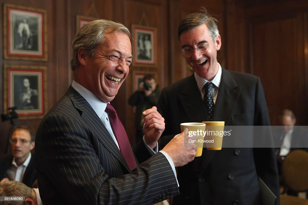 Jacob Rees-Mogg And Nigel Farage Speak Out Against The European Arrest Warrant : News Photo
