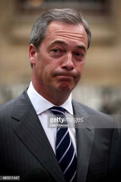 leader Nigel Farage arrives at the BBC studios ahead of his second debate with Deputy Prime Minister Nick Clegg over Britain's future in the European...