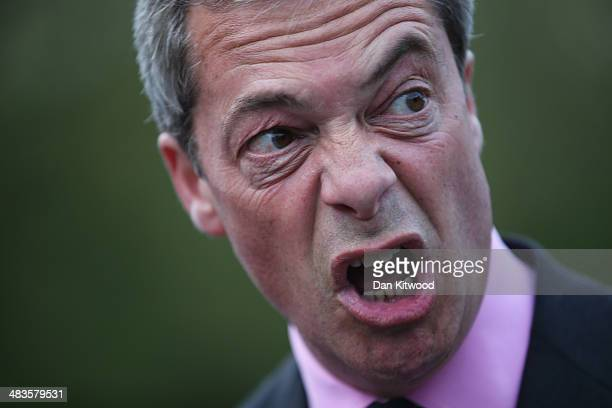 UKIP leader Nigel Farage arrives to speak at UKIP public meeting at Old Basing Village Hall on April 9 2014 in Basingstoke England Mr Farage made the...
