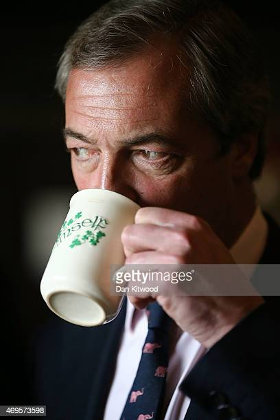 UKIP leader Nigel Farage attends a coffee morning at Coppins Community Centre on April 13 2015 in Clacton England Britain goes to the polls in a...