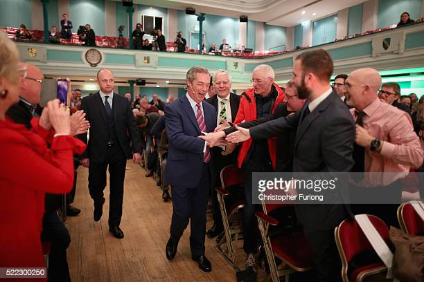 Leader Nigel Farage attends a Grassroots Out rally at Victoria Hall on April 18, 2016 in Stoke-on-Trent, England. Campaigning is beginning in earnest...