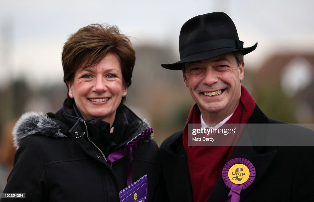 UKIP Leader Nigel Farage Visits Eastleigh To Canvass With Candidate Diane James : News Photo