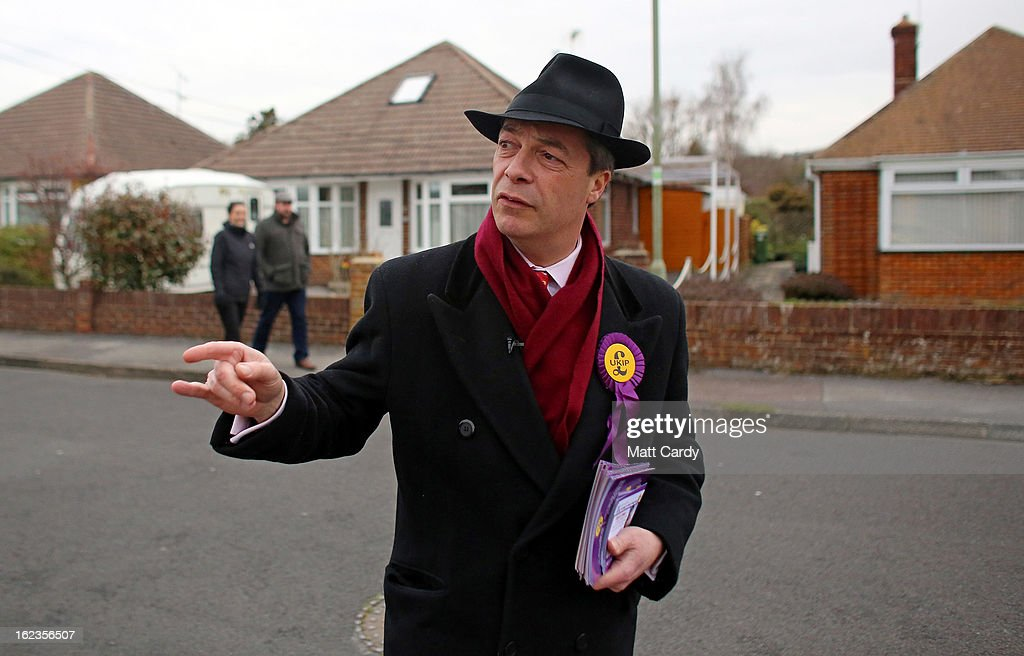 Leader Nigel Farage knocks on doors in a residential street as he campaigns for the forthcoming by-election on February 22, 2013 in Eastleigh, Hampshire. The by-election is being fought for the former seat of ex-Liberal Democrat MP Chris Huhne and will be held on February 28, 2013.
