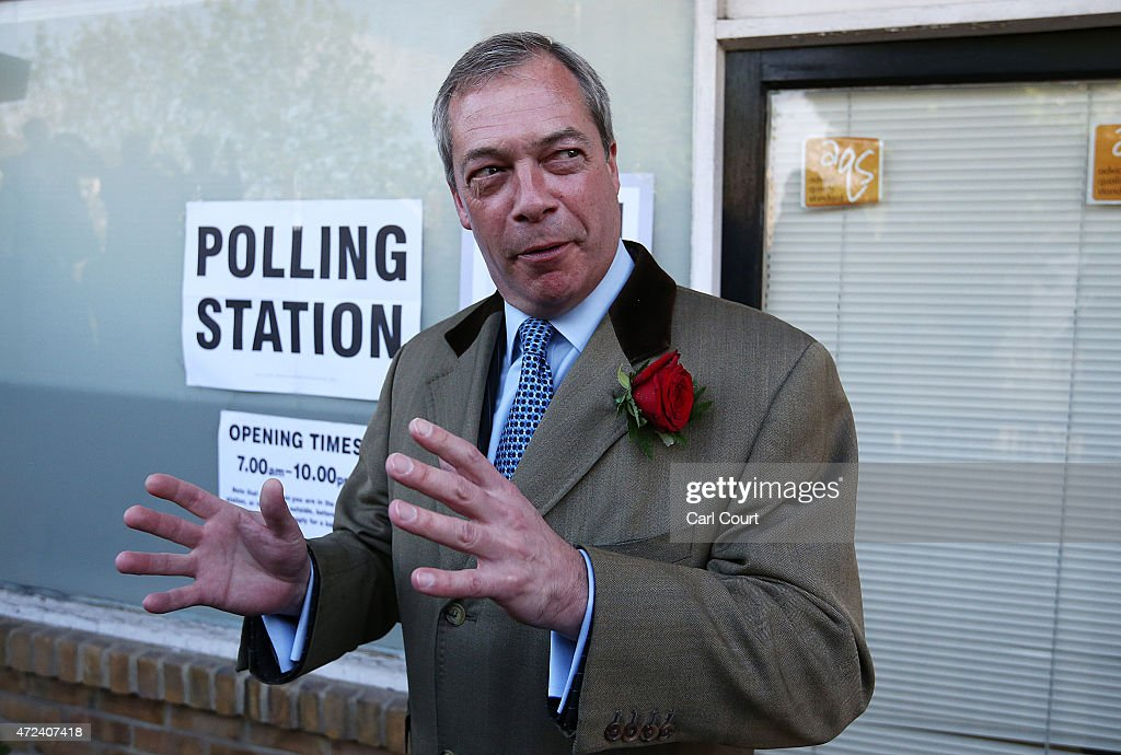 UKIP leader Nigel Farage leaves after casting his vote for the South Thanet constituency on May 7, 2015 in Ramsgate, England. The United Kingdom has gone to the polls to vote for a new government in one of the most closely fought General Elections in recent history. With the result too close to call it is anticipated that there will be no overall clear majority winner and a coalition government will have to be formed once again.