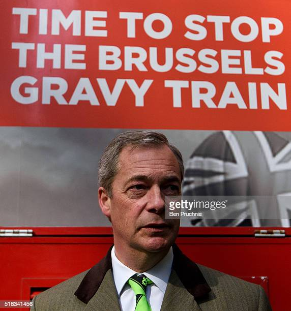 Leader Nigel Farage poses for photographs ahead of Grassroots Out lodging their application for campaign designation to the Electoral Commission on...