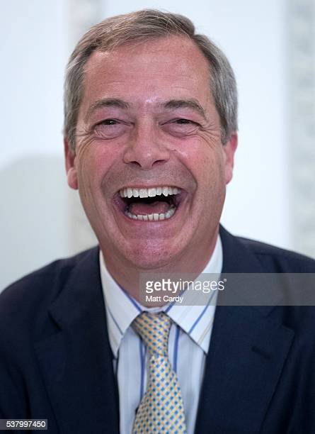 UKIP leader Nigel Farage speaks at a Grassroots Out campaign rally at the Mercure Bristol Grand Hotel on June 4 2016 in Bristol England Campaigning...