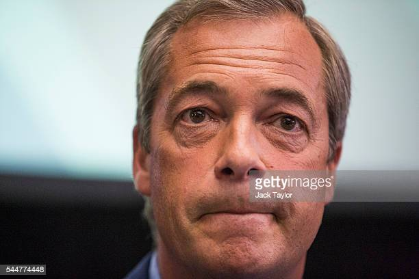 Leader Nigel Farage speaks at a press conference at the The Emmanuel Centre on July 4 2016 in London England Mr Farage today said he would be...