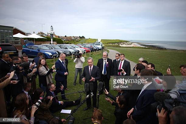 UKIP leader Nigel Farage speaks during a press conference in which he announced his resignation after failing to win the South Thanet constituency on...