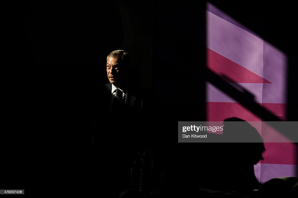 UKIP leader Nigel Farage speaks during a public meeting on April 18, 2015 in Ramsgate, England. Mr Farage is holding several public meetings across the county today. Britain goes to the polls in a General Election on May 7.