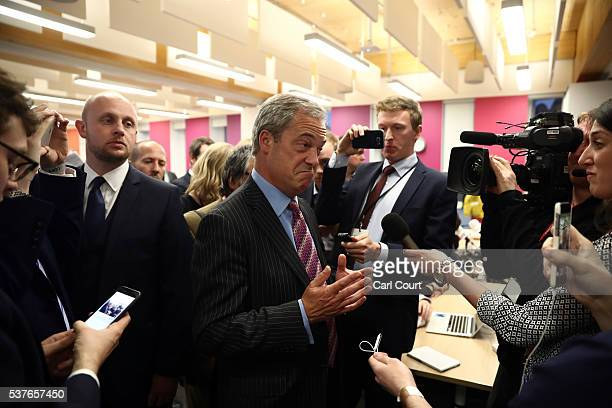 Leader Nigel Farage speaks to journalists at Sky News headquarters after Prime Minister David Cameron laid out reasons to remain in the European...