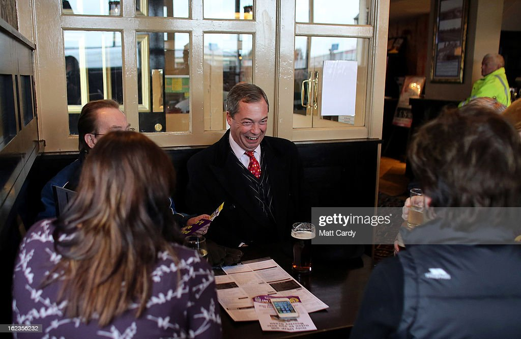Leader Nigel Farage takes a break in a pub as he helps campaign for the forthcoming by-election on February 22, 2013 in Eastleigh, Hampshire. The by-election is being fought for the former seat of ex-Liberal Democrat MP Chris Huhne and will be held on February 28, 2013.