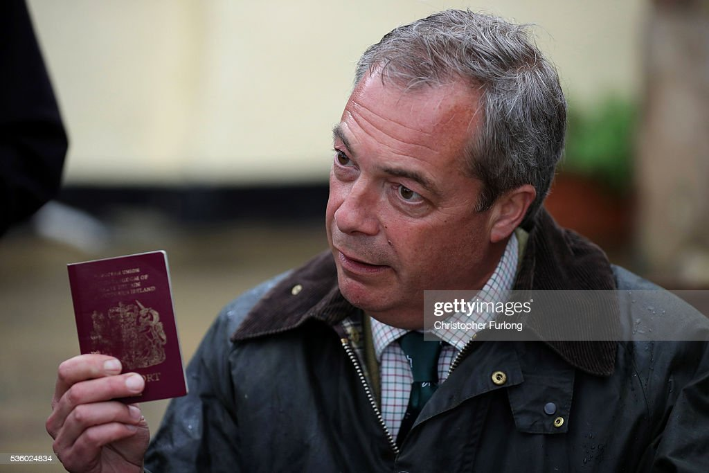 Leader Nigel Farage talks to the media after his planned trip to Northampton was cancelled amid protests in the city centre on May 31, 2016 in Northampton, England. With 23 days to go until the EU referendum Nigel Farage took his battle bus to Birmingham and Northampton encouraging British people to vote to leave the EU on 23rd June 2016.