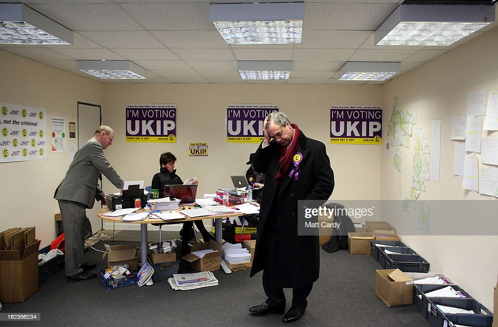 Leader Nigel Farage waits to pose for a portrait photographer in the local UKIP office as he helps campaign for the forthcoming by-election on February 22, 2013 in Eastleigh, Hampshire. The by-election is being fought for the former seat of ex-Liberal Democrat MP Chris Huhne and will be held on February 28, 2013.