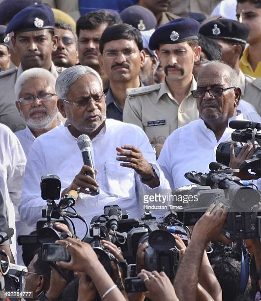 U leader Nitish Kumar interacting with media on May 19 2014 in Patna India Nitish Kumar resigned as Bihar CM on Saturday his party bad performance in...