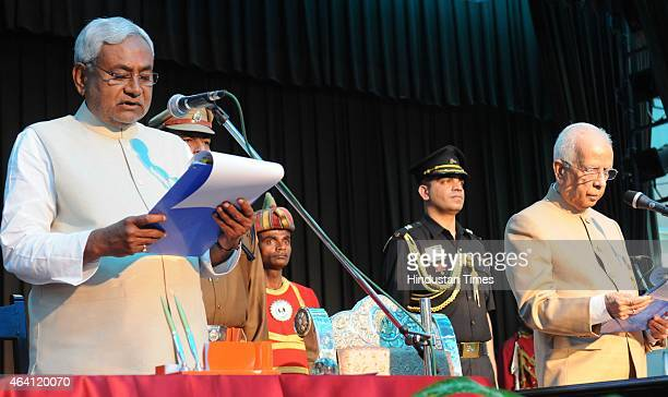 JD leader Nitish Kumar taking oath as the new Chief Minister of Bihar for the fourth time at Raj Bhawan on February 22 2015 in Patna India Nitish...