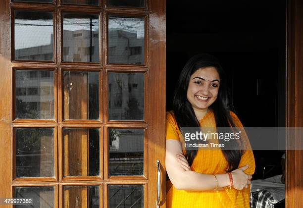 BJP leader Nupur Sharma poses for profile shoot on June 4 2015 in New Delhi India