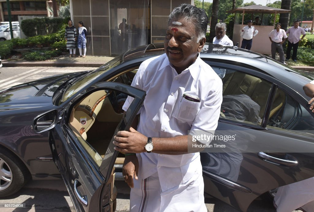 Aiadmk Leader O Panneerselvam Arrives During The Monsoon Session At Parliament House On July 24