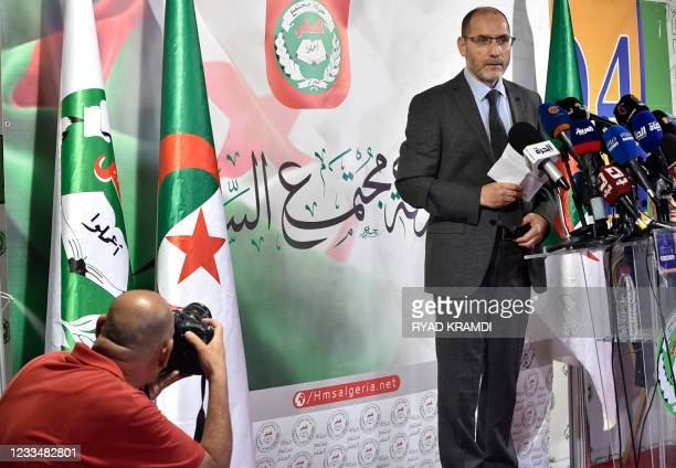 Leader of Algeria's Islamist party, the Movement of Society for Peace , Abderrezak Mokri holds a press conference at the party's headquarters in the...