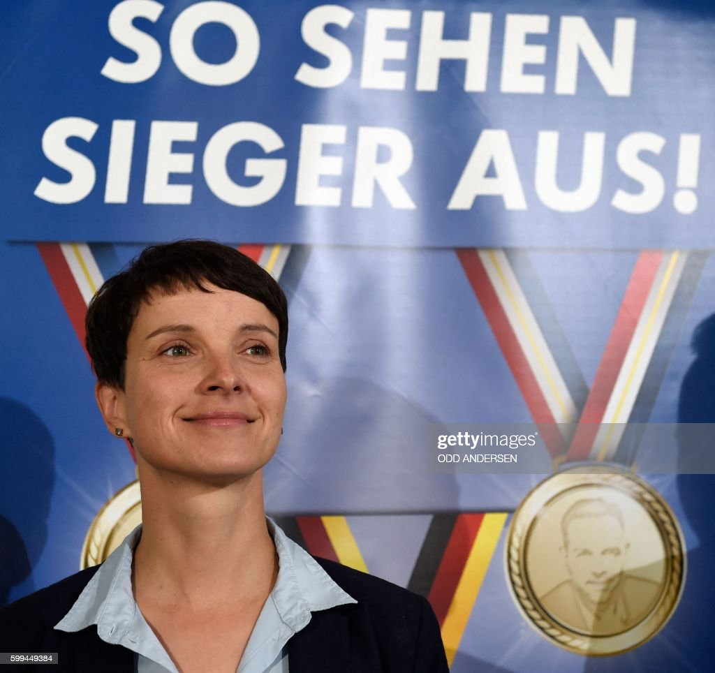 Leader of 'Alternative for Germany' (AfD) Frauke Petry attends a press conference in Berlin, on September 5, 2016 a day after the regional state elections in Mecklenburg-Western Vorpommern. The right-wing populist Alternative for Germany (AfD) party clinched almost 21 percent in its first bid for seats in the regional parliament of Mecklenburg-Western Pomerania. / AFP / ODD