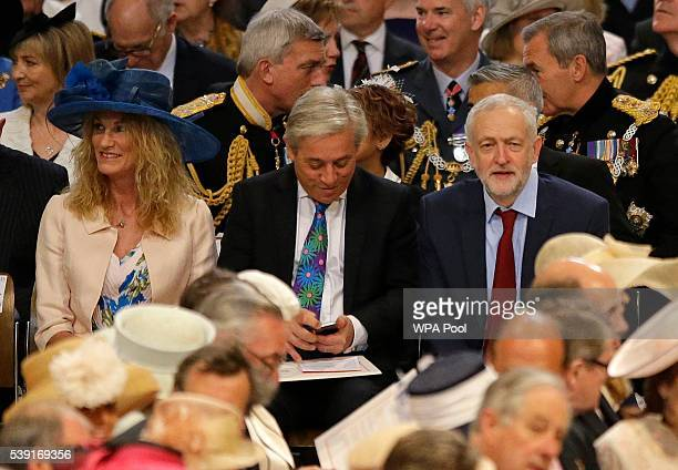 Leader of Britain's Labour Party Jeremy Corbyn John Bercow the Speaker of the House of Commons and his wife Sally take their seats as they arrive for...