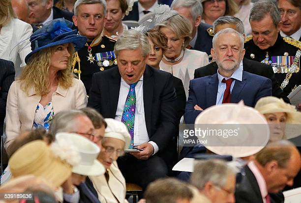 Leader of Britain's Labour Party Jeremy Corbyn John Bercow the Speaker of the House of Commons and his wife Sally at a service of thanksgiving for...