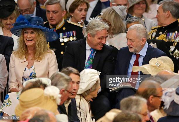 Leader of Britain's Labour Party Jeremy Corbyn speaks to John Bercow the Speaker of the House of Commons and his wife Sally as they take their seats...