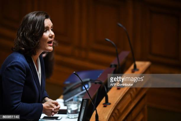 Leader of CDSPP party Assuncao Cristas speaks during the debate of a censure motion tabled by the conservative CDSPP party at the Portuguese...