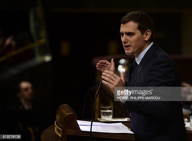 Leader of centerright party Ciudadanos Albert Rivera speaks at Las Cortes in Madrid on March 2 2016 during a parliamentary debate to vote through a...